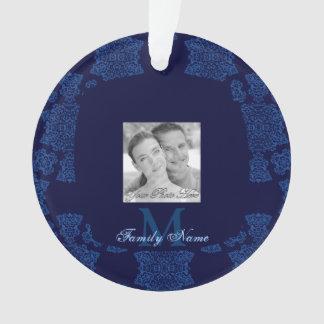 Tudor Rose Damask  (Blue) (Monogram) Ornament