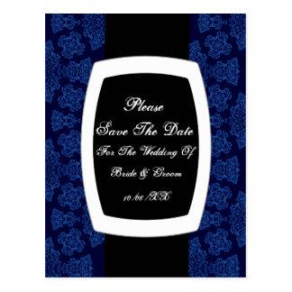 Tudor Rose Damask  (Blue) (Monogram) Postcard