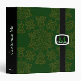 Tudor Rose Damask  (Green) (Monogram) Binder