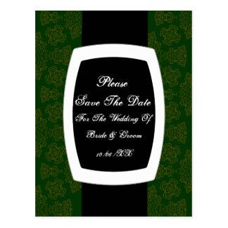 Tudor Rose Damask  (Green) Postcard