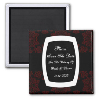 Tudor Rose Damask (Red) Save The Date 2 Inch Square Magnet