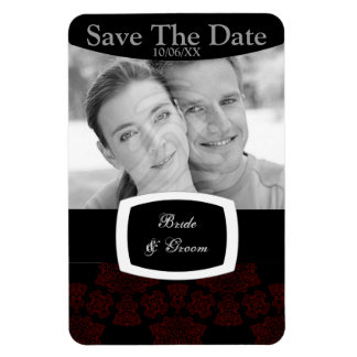 Tudor Rose Damask (Red) Save The Date Rectangular Photo Magnet