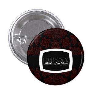 Tudor Rose Damask (Red) Wedding Pinback Button