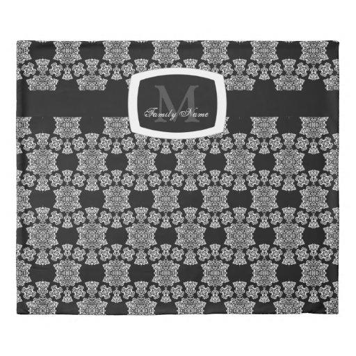 Tudor Rose Damask White Monogram Duvet Cover Zazzle
