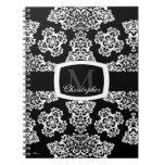 Tudor Rose Damask  (White) (Monogram) Spiral Notebooks