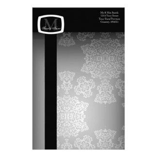 Tudor Rose Damask  (White) (Monogram) Stationery Paper
