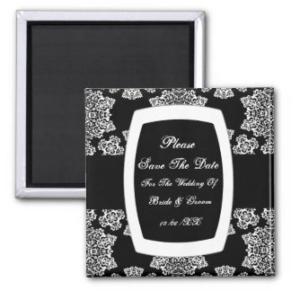 Tudor Rose Damask (White) Save The Date 2 Inch Square Magnet