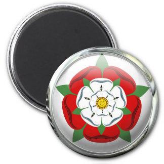 Tudor Rose Flag Glass Ball 2 Inch Round Magnet