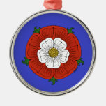 Tudor Rose on Blue Ornament