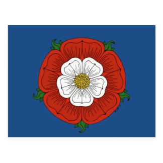 Tudor Rose on Blue Postcard