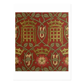 'Tudor Rose', reproduction wallpaper designed by S Postcard