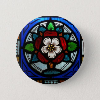 Tudor Rose Stained Glass Rose Button