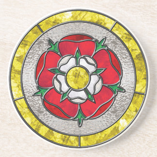 Tudor Rose Stained Glass Sandstone Coaster
