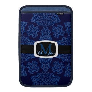 Tudor subió el damasco azul el monograma fundas MacBook
