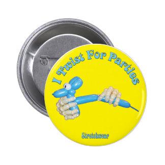 Tuerzo para las manos y el perro del globo del bot pin redondo de 2 pulgadas