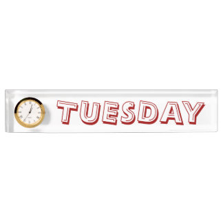 Tuesday Alphabet Soup Font Desk Clock by Janz Desk Name Plate