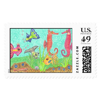 Tuesday Morning Aquarium Postage Stamp
