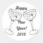 Tueste el Año Nuevo Etiquetas Redondas