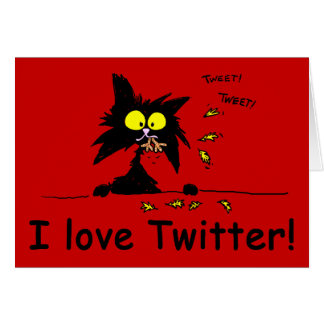 Tuff Kitty loves Twitter Greeting Card
