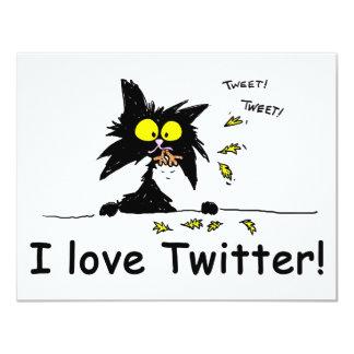 Tuff Kitty loves Twitter 4.25x5.5 Paper Invitation Card