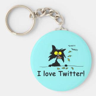 Tuff Kitty loves Twitter Key Chain
