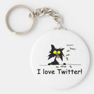 Tuff Kitty loves Twitter Key Chains