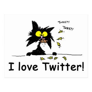 Tuff Kitty loves Twitter Postcard