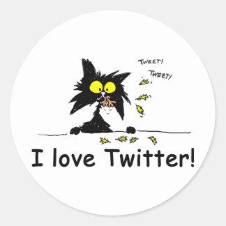 Tuff Kitty loves Twitter Round Sticker