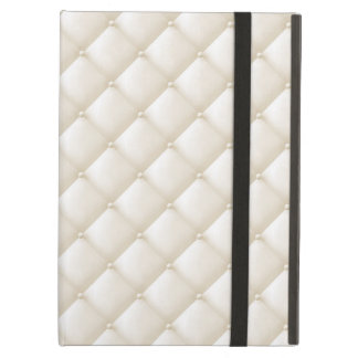 Tuft Ivory Leather Buttons Beige White Egg Shell Case For iPad Air