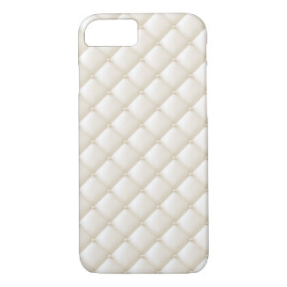 Tuft Ivory Leather Buttons Beige White Egg Shell iPhone 8/7 Case
