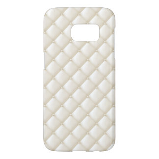 Tuft Ivory Leather Buttons Beige White Egg Shell Samsung Galaxy S7 Case