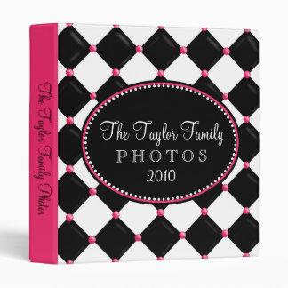 Tufted Harlequin Pink and Black Photo Album Binder