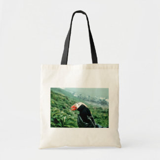 Tufted Puffin in Hand Tote Bag