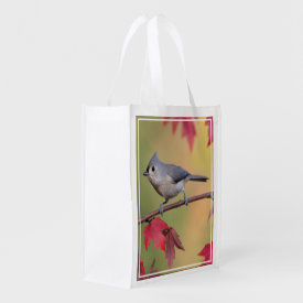 Tufted Titmice Grocery Bags at Zazzle