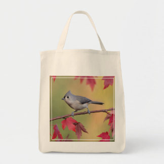 Tufted Titmice Grocery Tote Bag