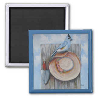 tufted titmouse 2 inch square magnet