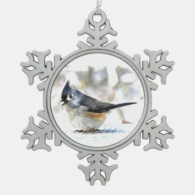 Tufted Titmouse Bird Pewter Snowflake Ornament