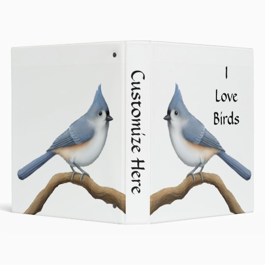 Tufted Titmouse Customizable Avery Binder