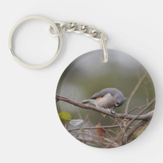 Tufted Titmouse Eating a Seed Acrylic Keychain