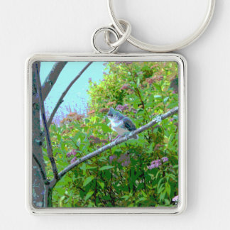 Tufted Titmouse Fledgling Baby Bird Keychain