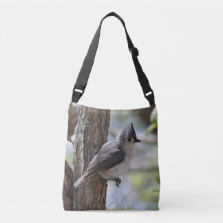 Tufted titmouse in spring crossbody bag