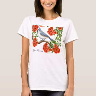Tufted Titmouse in Trumpet Vines Shirt