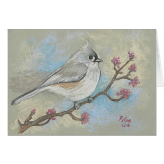 Tufted titmouse on a redbud branch card