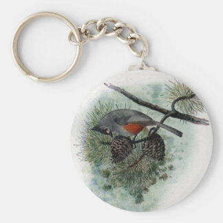 Tufted Titmouse Perched on Pinecone Keychain