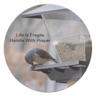 Tufted Titmouse Prayer Melamine Plate