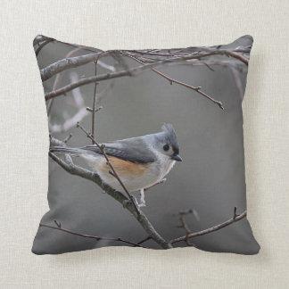 Tufted titmouse throw pillow