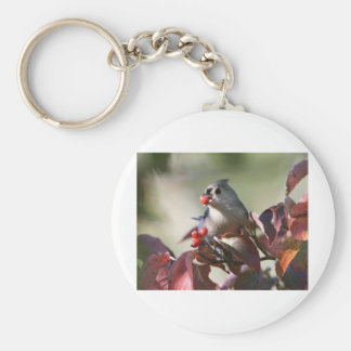 tufted titmouse with berry keychain
