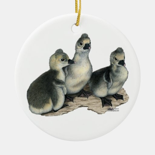 Tufted Toulouse Goslings Christmas Tree Ornament