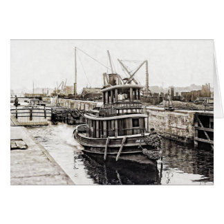 Tug and Barges 1915 Card
