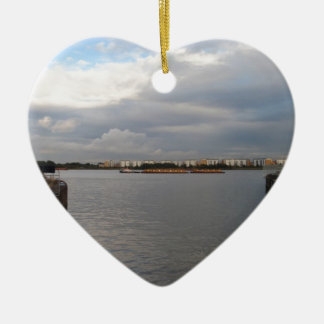 Tug And Barges On The Thames Ceramic Ornament